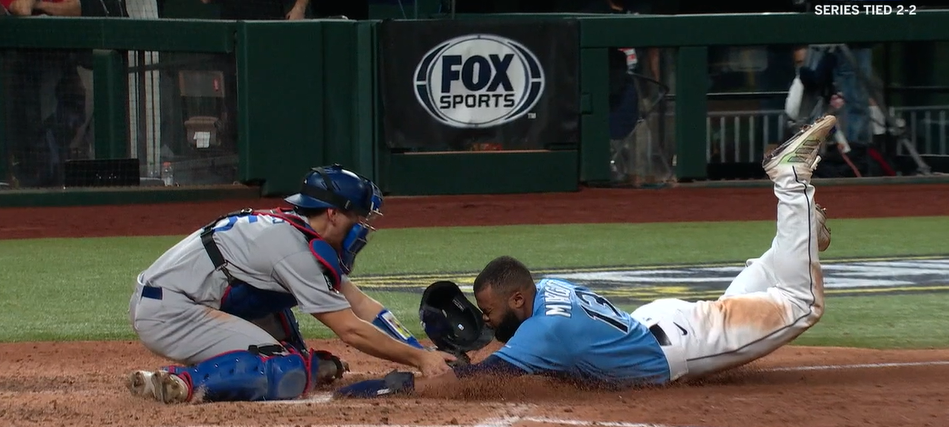 Manuel Margot is, or if you prefer is not, tagged out.